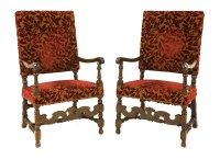 Lot 526 - A pair of French walnut open armchairs
