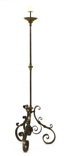 Lot 523-A wrought iron floor-standing pricket candlestick
