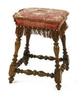 Lot 536 - A Continental walnut footstool