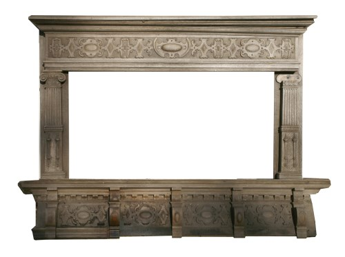 Lot 538-An oak chimney piece and overmantel