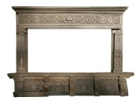 Lot 538 - An oak chimney piece and overmantel