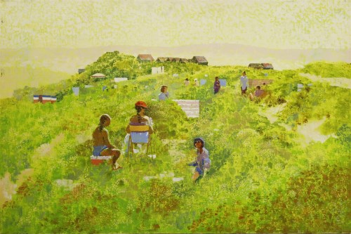 Lot 207-*Lionel Bulmer (1919-1992) PICNIC IN THE DUNES Oil on canvas 61 x 91cm