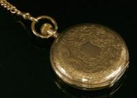Lot 587-A Swiss gold side wind Hunter pocket watch