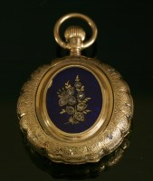 Lot 584-A Swiss gold, side wind, diamond and enamel Hunter fob watch