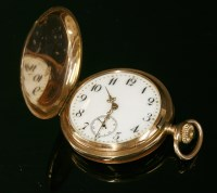 Lot 582-A Swiss rose gold, side wind, Hunter fob watch