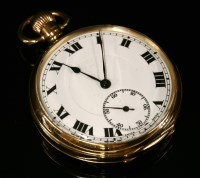 Lot 586-A 9ct gold, top wind, open faced pocket watch