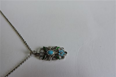 Lot 137 - An Arts and Crafts silver and enamelled pendant