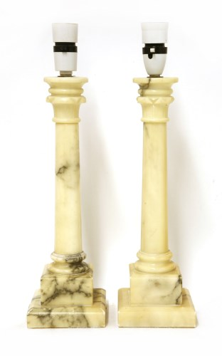 Lot 42-A pair of alabaster table lamps