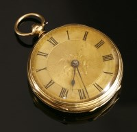 Lot 580-An 18ct gold key wound open faced pocket watch