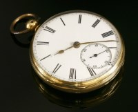 Lot 581-An 18ct gold key wound open faced pocket watch