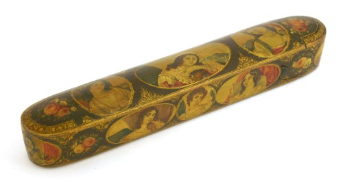Lot 11-A Persian lacquered papier-mâché pen box