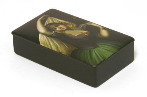 Lot 13-A Russian lacquered papier-mâché snuff box