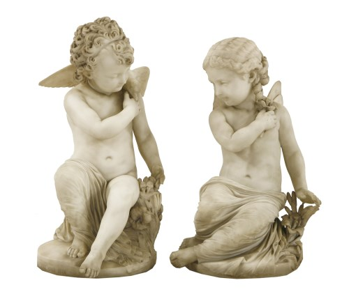 Lot 142 - A pair of Italian marble sculptures