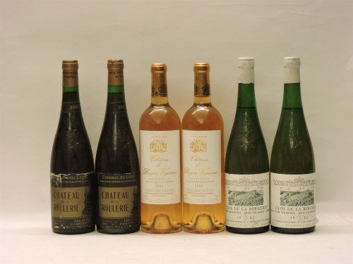 Lot 44-Assorted Sweet Wines to include: Château de la Roulerie