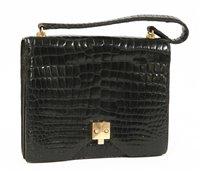 Lot 752-A Hermes vintage black crocodile skin handbag