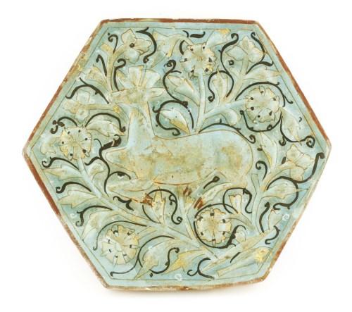 Lot 159-A rare moulded pottery tile