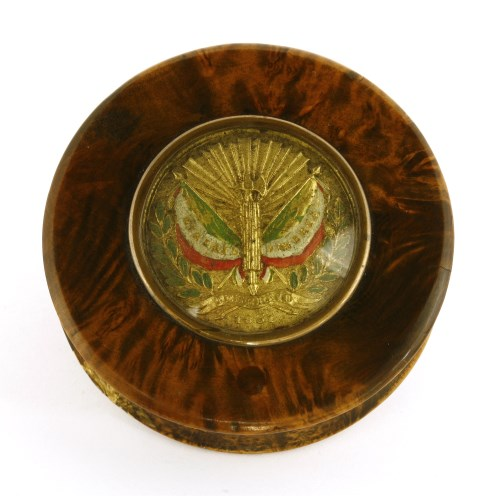 Lot 5-A rare stained mulberry and tortoiseshell snuff box