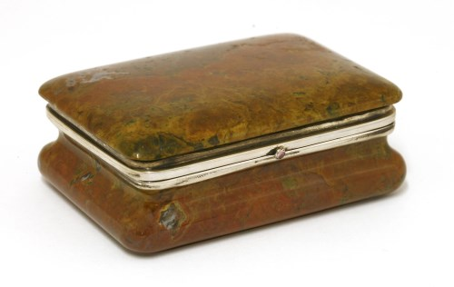 Lot 2-A polished hardstone silver-mounted table snuff box