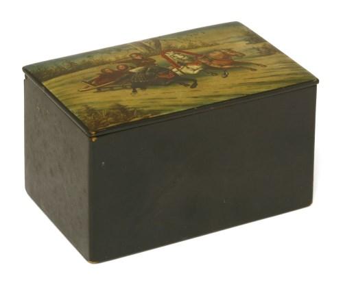 Lot 9-A Russian papier-mâché and lacquer tea box