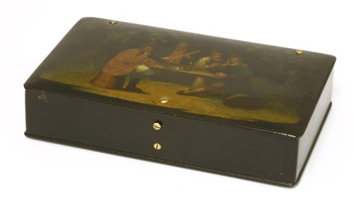 Lot 10-A Russian papier-mâché and lacquer tea box