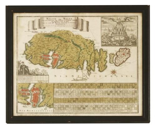 329 - MAPS: Malta: 1- SEUTTER MATTHEUS: Melite vulgo Malta cum vicinis Goza quae olim Gaulos