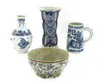 Lot 566-A delft blue and white bottle vase