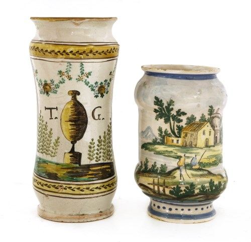 Lot 529-An Italian pottery drug jar