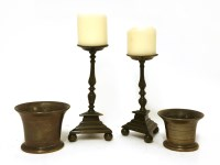 Lot 554-Two bronze mortars