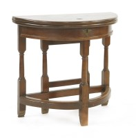 Lot 524-A George II-style mahogany fold-over demilune side table