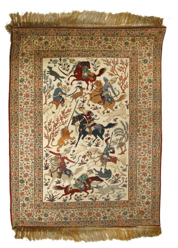 Lot 1026 - An Isfahan pictorial rug