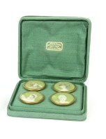 Lot 16A-Four cased painted miniature buttons of young maidens