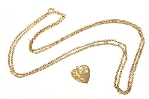 Lot 11-An American gold heart shaped pendant