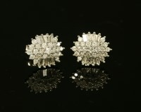 Lot 17-A pair of white gold diamond cluster stud earrings