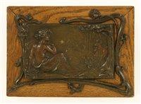 Lot 12-An Art Nouveau patinated spelter panel