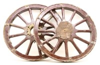 Lot 2-Firestone 34 x 4 1/2 12-spoke wooden artillery wheels