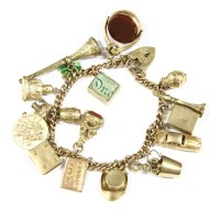 Lot 22-A 9ct gold curb link bracelet with padlock