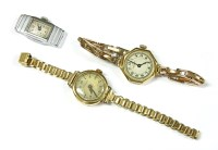 Lot 10-A ladies 9ct gold Tavannes mechanical bracelet watch