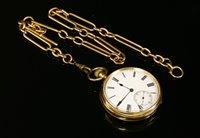 Lot 589-An 18ct gold open faced pocket watch