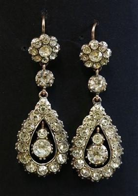 Lot 23-A pair of Georgian paste drop earrings