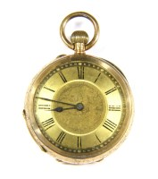 Lot 21-A gold ladies open faced pocket watch