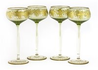 Lot 7-Four Moser Glassworks clear and green tinted  wine glasses