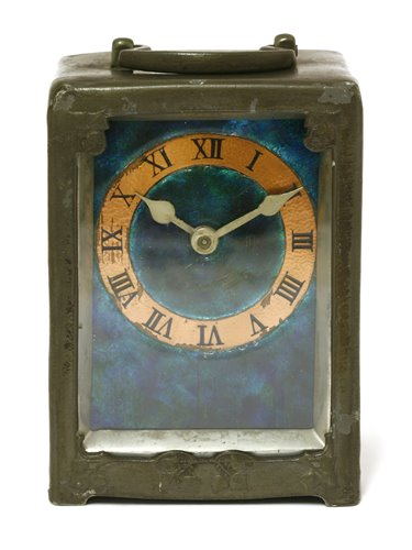 Lot 49 - A Liberty & Co pewter and enamel desk clock