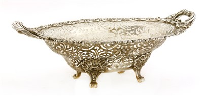 Lot 26-A large silver and pierced oval basket