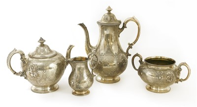 Lot 19-A Victorian four-piece tea and coffee service