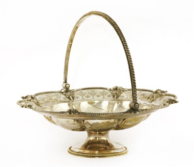 Lot 16-A Victorian swing-handled silver cake basket