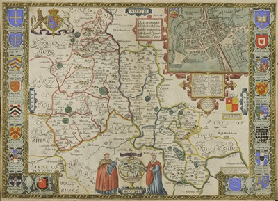 Lot 39-John Speede  'Oxfordshire delcribed with y citie and the Arms of the Colledges of y Famous ...