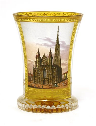 Lot 155 - A Vienna transparent enamelled glass beaker or Ranftbecher