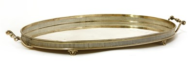 Lot 24-A silver twin-handled oval tray