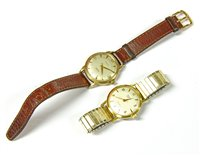 Lot 5-A 9ct gold Mappin & Webb automatic strap watch