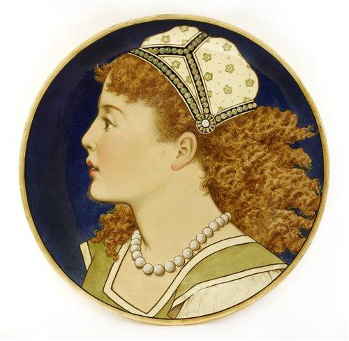 Lot 23-A Minton's Art Pottery Studio charger depicting female portrait